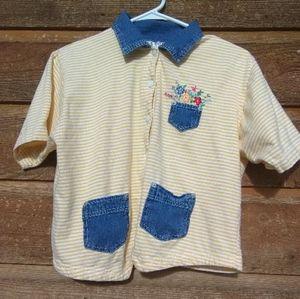 Vintage Petite Flower Pocket Button up Top